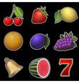 Slot machine fruit symbols vector image vector image