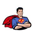 strong superhero pop art retro comic style vector image
