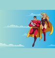 super dad mom and baby in sky vector image vector image