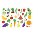 vegetables fruits herbs and roots icons set vector image