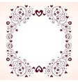 vintage hearts and flowers frame vector image vector image