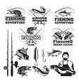 vintage labels set for fishing club logos vector image vector image