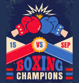vintage poster for a boxing with two gloves vector image vector image