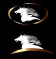 White gold horse logo vector image vector image
