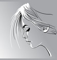 woman s face silhouette in backlight vector image vector image