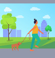 woman with dog in park vector image vector image