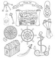 black and white set with pirate theme objects vector image