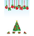 3d christmas text red and green on snow backdrop vector image vector image