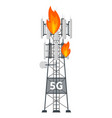 5g mast base station tower on fire