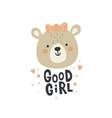 a cute lady bear face vector image vector image