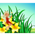 A fairy holding a wand sitting above a flower vector image vector image