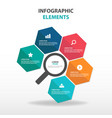 abstract business magnifier infographics elements vector image vector image