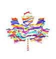 Abstract Maple Leaf Silhouette with Pattern vector image vector image