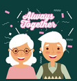 always together lovely and happy senior couple vector image vector image