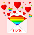 card white envelope flying out lgbt colors hearts vector image