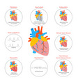 cartoon heart disease infographic card or poster vector image