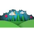 cartoon paper landscape fir moon vector image