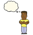 cartoon tough guy with folded arms with thought vector image