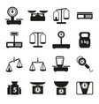 cartoon weight scales silhouette black icons set vector image vector image