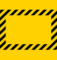 caution warning in yellow-black border warning vector image