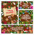 christmas holiday greetings decorations in snow vector image vector image