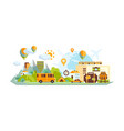 city and countryside landscape with location marks vector image vector image