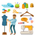colorful tailor tools set vector image vector image