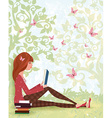 Cute girl is reading a book under tree with the vector image