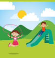 cute happy little kids playing slide jump rope vector image