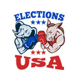 Democrat Donkey Republican Elephant Mascot USA vector image vector image