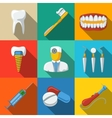 Dental flat long shadow icons set - tooth jaw vector image