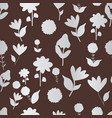 folk silver flowers on brown background seameless vector image vector image