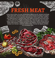 fresh meat chalkboard poster butcher shop design vector image vector image