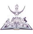 girl thumbelina flies on swallow open book fairy vector image vector image