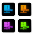 glowing neon server vpn icon isolated on white vector image vector image