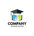 graduation cap and open book logo concept vector image