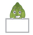 grinning with board artichoke character cartoon vector image vector image