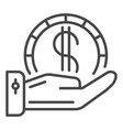 hand hold dollar coin icon outline style vector image