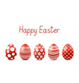 happy easter greeting card with realistic eggs vector image vector image