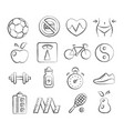 health and fitness doodle icons vector image vector image