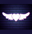 heart with wings purple glowing neon ui ux icon vector image vector image