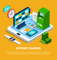 internet banking isometric composition vector image