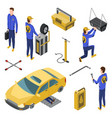 isometric auto service car service top view vector image vector image