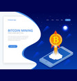 isometric concept of cryptocurrency and blockchain vector image vector image