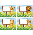Lions with wooden signs vector image vector image