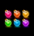 magic flasks color set dark background vector image vector image