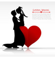 Man and woman couper kissing with love silhouette vector image