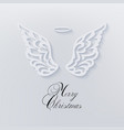 merry christmas card with angels wings vector image