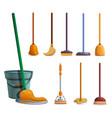 mop icon set cartoon style vector image