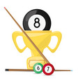 nice trophy of pool billiard game vector image vector image